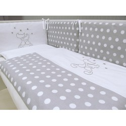 Pościel do łóżeczka 3-el. z wypełnieniem Koty Szare