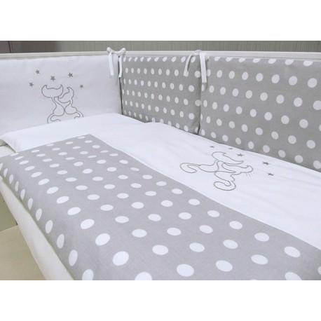 Pościel do łóżeczka 3 elementowa z wypełnieniem Koty Szare