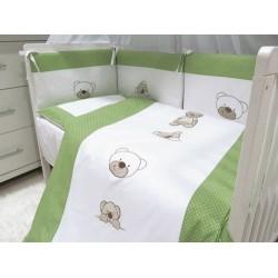 Pościel do łóżeczka 3-elementowa z wypełnieniem Misie Zielone