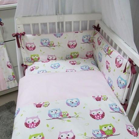 Pościel do łóżeczka 3-elementowa z wypełnieniem Sowy Różowe