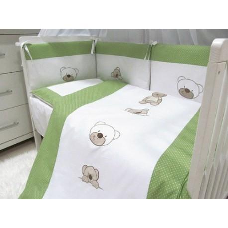 Pościel do łóżeczka 3-elementowa Zielone Misie