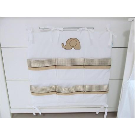 Przybornik do łóżeczka Savea - słonie beżowe