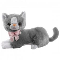 Szary Pluszowy kot Flico z kokardą Beppe