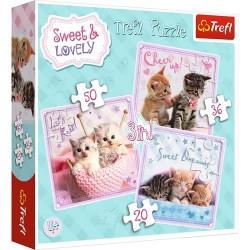 Puzzle dla dzieci 3w1 Słodkie kotki Trefl