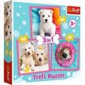 Puzzle dla dzieci 3w1 Słodkie pieski Trefl