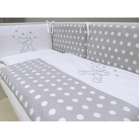 Pościel do łóżeczka 3-elementowa Koty Szare