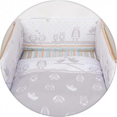 Pościel do łóżeczka 3 elementowa Sówki Szare Ceba
