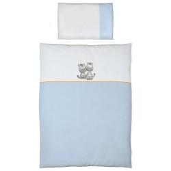 Pościel do łóżeczka 2-el. haft Zebra Niebieska