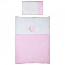 Pościel do łóżeczka 2-el. haft Serduszka Biało-Różowe