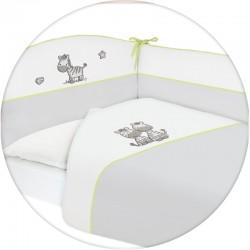 Pościel do łóżeczka 3-el. haft Zebra Szara