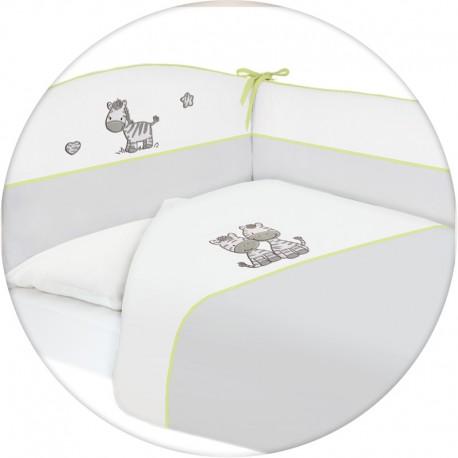Pościel do łóżeczka 3-elementowa haft Zebra Szara Ceba