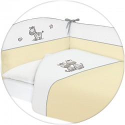Pościel do łóżeczka 3-el. haft Zebra Żółta