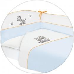 Pościel do łóżeczka 3-el. haft Zebra Niebieska
