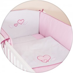 Pościel do łóżeczka 3-el. haft Serduszka Biało-Różowe