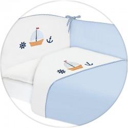Pościel do łóżeczka 3-el. haft Marynarski Niebieski