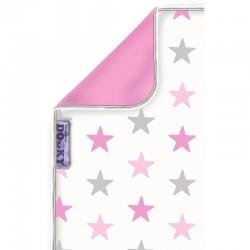 Dwustronny kocyk Dooky Pink Stars