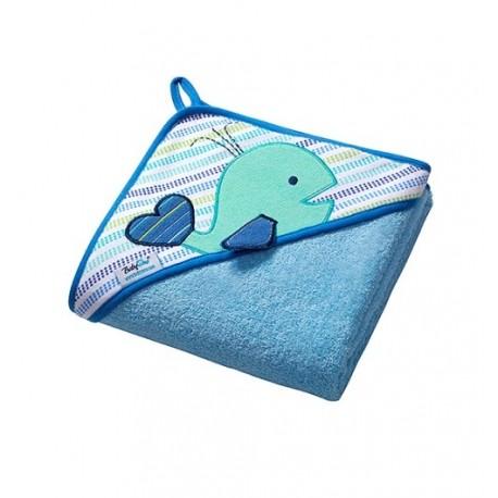 Ręcznik z kapturkiem 76x76 cm Niebieski WIELORYB