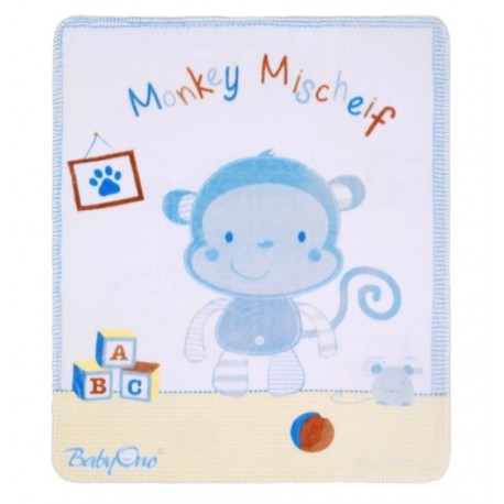 Ciepły zimowy Kocyk Pluszowy BabyOno - Niebieski Małpka