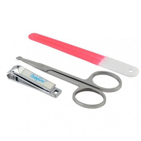 Zestaw kosmetyczny - pilniczek, nożyczki, cążki - Różowy