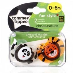 Smoczki uspokajające FUN STYLE 0-6m 2szt. Tygrys i panda