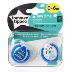 Smoczek uspokajający ANY TIME Tommee Tippee 0-6m niebieski
