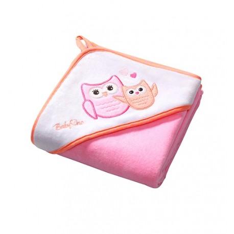 Ręcznik kąpielowy WELUR Różowy SOWY 100x100 cm