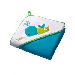 Ręcznik kąpielowy WELUR Niebieski WIELORYBKI 100x100 cm