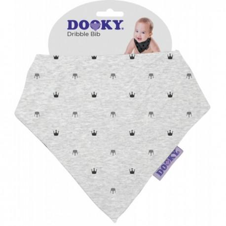Chustka śliniak bandamka Dribble Bib Light Grey Crowns Dooky