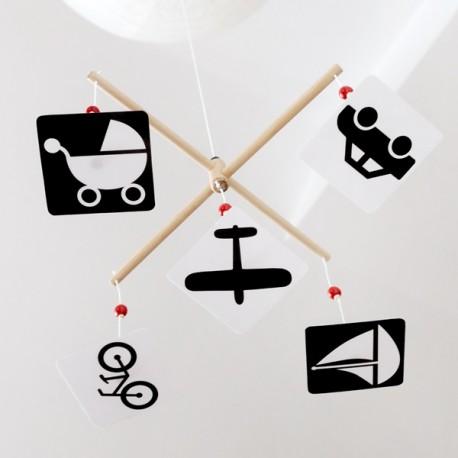 Karuzela kontrastowa wymienna Montessori POJAZDY