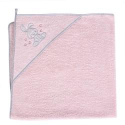 Ręcznik z kapturkiem KRÓLICZEK RÓŻOWY Ceba