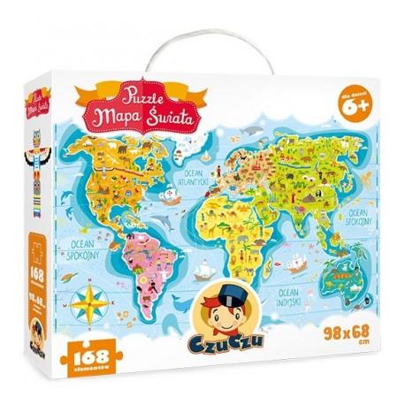 Puzzle MAPA ŚWIATA 6+ CzuCzu