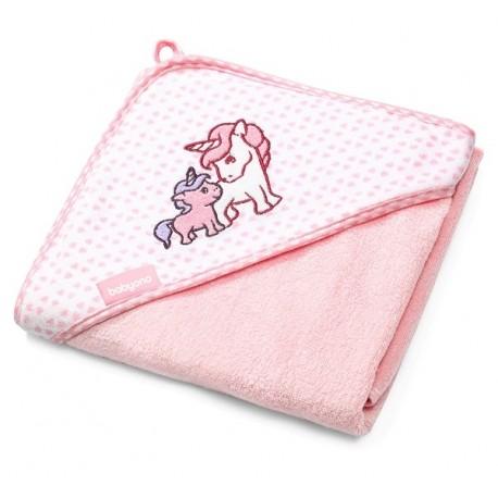 Ręcznik bambusowy z kapturkiem różowy BabyOno