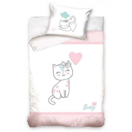 Pościel do łóżeczka Kotek Różowy Carbotex