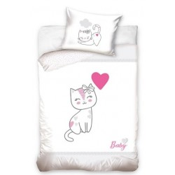 Pościel do łóżeczka Kotek Szary Carbotex