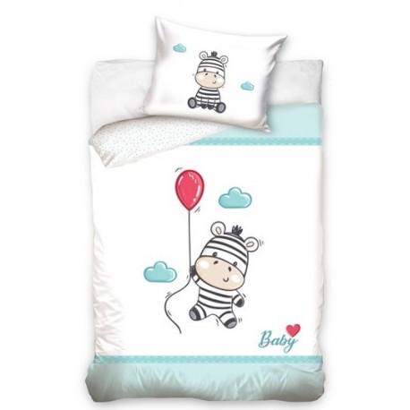 Pościel do łóżeczka Zebra Niebieska Carbotex