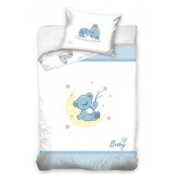 Pościel do łóżeczka Niebieski Miś Carbotex