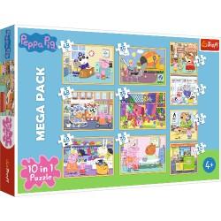Puzzle 10w1 Świnka Peppa z przyjaciółmi Trefl