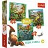 Puzzle Niezwykły świat Dinozaurów 3w1 Trefl