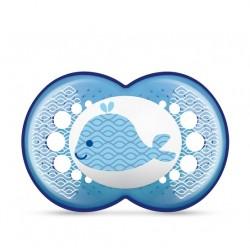 Smoczek MAM Clearline 6m+ niebieski z wielorybkiem