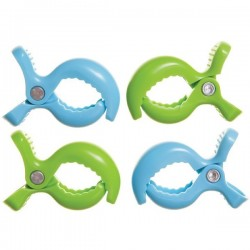 Klipsy do wózka 4szt. zielone niebieskie Dreambaby